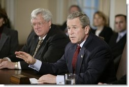 President George W. Bush meets with bipartisan leaders of the House and Senate in the Cabinet Room of the White House on Tuesday, January 27, 2003.   White House photo by Paul Morse