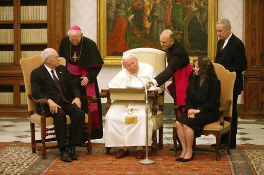 Vice President Dick Cheney and his wife, Lynne, meet His Holiness Pope John Paul II in the Vatican in Rome Jan. 27, 2004. The visit was part of a five-day trip through Switzerland and Italy for consultations with European allies on national security and economic matters. White House photo by David Bohrer
