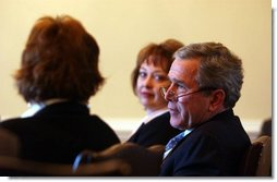 President George W. Bush meets privately with individuals who have signed up for medical savings accounts and small business owners to discus the savings accounts and association health plans in the Dwight D. Eisenhower Executive Office Building Wednesday, Jan. 28, 2004.   White House photo by Tina Hager