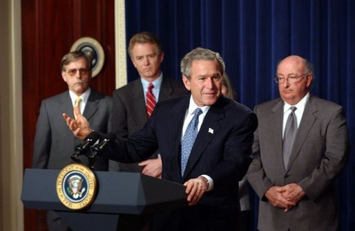 President George W. Bush delivers remarks about health savings accounts and association health plans in the Dwight D. Eisenhower Executive Office Building Wednesday, Jan. 28, 2004. White House photo by Tina Hager