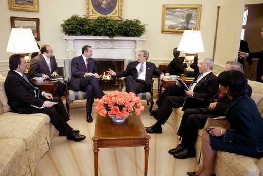 President George W. Bush meets with Prime Minister Recep Tayyip Erdogan of Turkey in the Oval Office Wednesday, Jan. 28, 2004. White House photo by Paul Morse