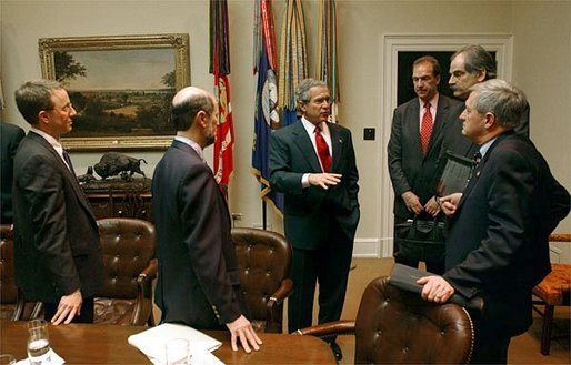 President George W. Bush meets with economists in the Roosevelt Room Friday, Jan. 30, 2004. White House photo by Tina Hager