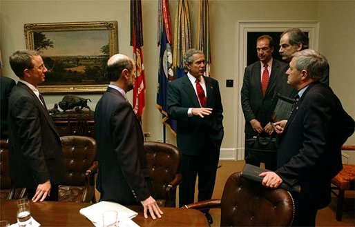 President George W. Bush meets with economists in the Roosevelt Room Friday, Jan. 30, 2004. White House photo by Tina Hager.