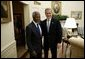 President George W. Bush welcomes United Nations Secretary General Kofi Annan to the Oval Office Tuesday, Feb. 3, 2004. After their meeting, they addressed the press. White House photo by Paul Morse
