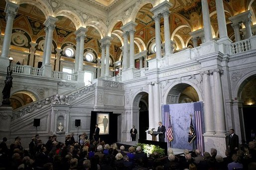 "President George W. Bush delivers remarks during ceremonies marking the opening of the exhibit, ""Churchill and the Great Republic,"" at the Library of Congress in Washington, D.C., Wednesday, Feb. 4, 2004. Open from Feb. 5 through June 26, 2004, the exhibit marks Winston Churchill's contributions to democracy and his relationship with the United States. White House photo by Paul Morse"