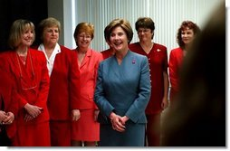 Laura Bush meets with heart disease survivors at the Baptist Hospital of Miami during part of a Heart Truth campaign tour to promote awareness of heart disease in women. Miami, Florida, Wednesday, Feb. 4, 2004.  White House photo by Tina Hager