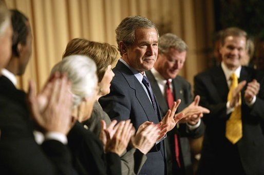 President George W. Bush attends the National Prayer Breakfast in Washington, D.C., Thursday, Feb. 5, 2004. White House photo by Eric Draper