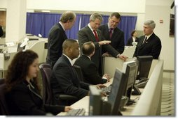 President George W. Bush tours the National Targeting Center in Reston, Va., Friday, February 6, 2004. Part of Homeland Security's Bureau of Customs and Border Protection, the center provides analytical research support for counterterrorism efforts.  White House photo by Paul Morse
