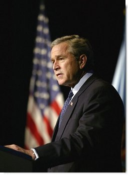 President George W. Bush delivers remarks on Weapons of Mass Destruction Proliferation at the National Defense University at Ft. McNair, Wednesday, Feb. 11, 2004.  White House photo by Eric Draper
