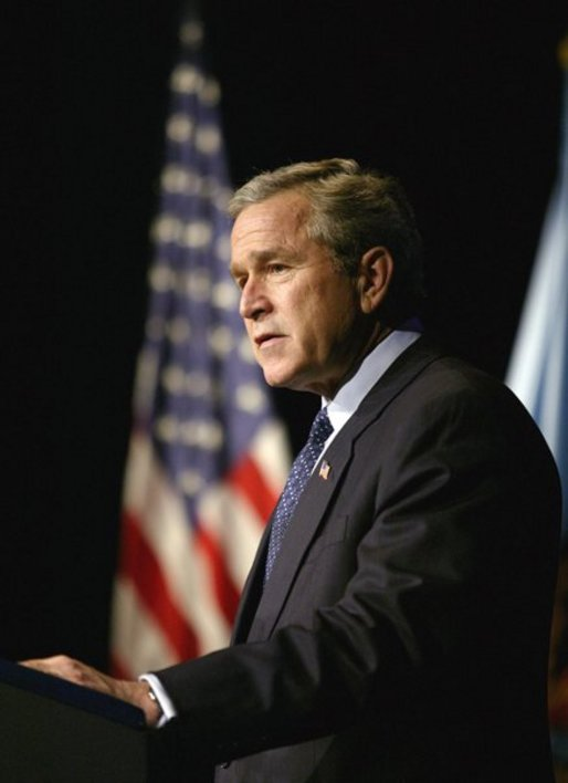 President George W. Bush delivers remarks on Weapons of Mass Destruction Proliferation at the National Defense University at Ft. McNair, Wednesday, Feb. 11, 2004. White House photo by Eric Draper.