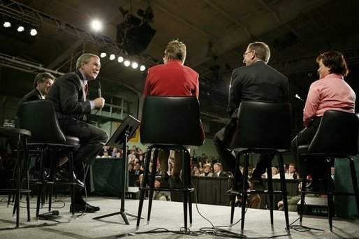 President George W. Bush during a conversation on the Economy and the Jobs for the 21st Century Initiative at Central Dauphin High School in Harrisburg, PA. White House photo by Paul Morse