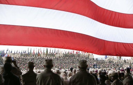 "President George W. Bush addresses military personnel at Fort Polk, La., Tuesday, Feb. 17, 2004. ""Since our nation was attacked on September the 11th, 2001, this post has trained and deployed more than 10,000 troops to fight the terrorist enemy,"" said President Bush. White House photo by Paul Morse."