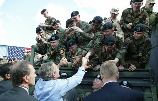 President George W. Bush greets soldiers after giving remarks to military personnel Fort Polk, La., Tuesday, Feb. 17, 2004. White House photo by Paul Morse.