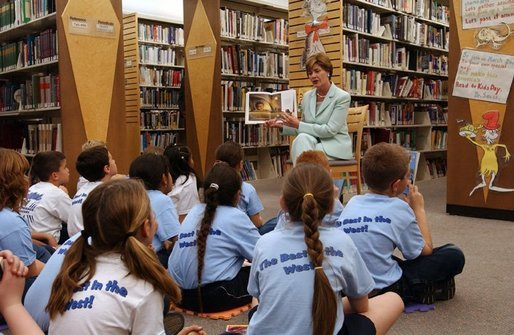 Laura Bush reads to Fifth Graders at the Rancho Mirage Public Library in Palm Springs, Calif., on Wednesday, February 18, 2004. White House photo by Tina Hager