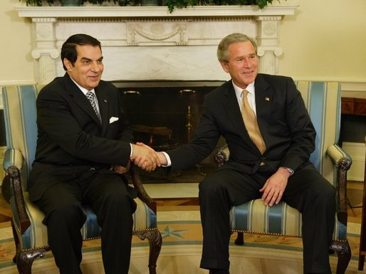President George W. Bush meets with Tunisian President Zine Al-Abidine Ben Ali in the Oval Office Wednesday, February 18, 2004. White House photo by Paul Morse.