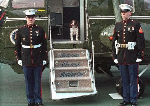Spot arrives at Camp David with the President aboard Marine One, Dec. 26, 2001. White House photo by Eric Draper.