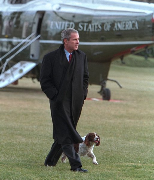 The President George W. Bush and Spot walk across the South Lawn following the President's arrival aboard Marine One, Jan. 15, 2002. White House photo by Paul Morse.