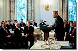 President George W. Bush addresses the National Governors Association in the State Dining Room of the White House Monday, Feb. 23, 2004.  White House photo by Tina Hager
