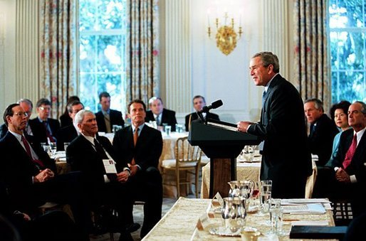 President George W. Bush addresses the National Governors Association in the State Dining Room of the White House Monday, Feb. 23, 2004. White House photo by Tina Hager.