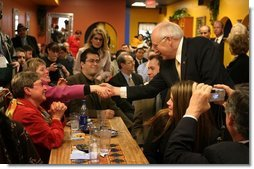 Vice President Dick Cheney greets customers at El Burrito Mercado, a grocery store and cafeteria in the heart of St. Paul's Latino commercial district, in St. Paul, Minn., Monday, Feb. 23, 2004. In remarks to store patrons, Vice President Cheney underscored the vital role family-run small businesses play in creating jobs.  White House photo by David Bohrer
