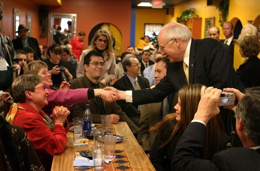 Vice President Dick Cheney greets customers at El Burrito Mercado, a grocery store and cafeteria in the heart of St. Paul's Latino commercial district, in St. Paul, Minn., Monday, Feb. 23, 2004. In remarks to store patrons, Vice President Cheney underscored the vital role family-run small businesses play in creating jobs. White House photo by David Bohrer.