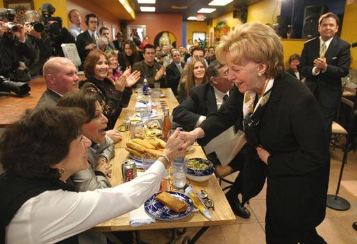 Lynne Cheney greets customers at El Burrito Mercado, a grocery store and cafeteria in the heart of St. Paul's Latino commercial district, in St. Paul, Minn., Monday, Feb. 23, 2004. White House photo by David Bohrer.