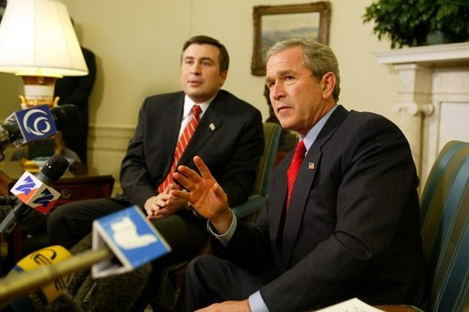 President George W. Bush answers questions from the press after meeting with the president of Georgia Mikhail Saakashvili in the Oval Office on February 25, 2004. White House photo by Paul Morse.