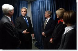 President George W. Bush talks with small business owners and employees of ISCO Industries in Louisville, Ky., Thursday, Feb. 26, 2004.  White House photo by Tina Hager