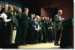 Marking its one-year anniversary, President George W. Bush discusses the accomplishments of the U.S. Department of Homeland Security at the Ronald Reagan Building and International Trade Center in Washington, D.C., Tuesday, March 2, 2004.  White House photo by Paul Morse