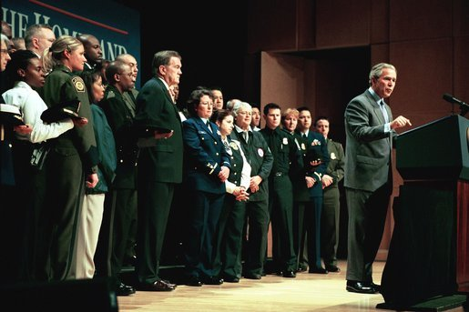 Marking its one-year anniversary, President George W. Bush discusses the accomplishments of the U.S. Department of Homeland Security at the Ronald Reagan Building and International Trade Center in Washington, D.C., Tuesday, March 2, 2004. White House photo by Paul Morse.