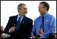 President George W. Bush talks with Rain for Rent President John Lake during a Conversation on the Economy at Rain for Rent in Bakersfield, Calif., Thursday, March 3, 2004. White House photo by Eric Draper