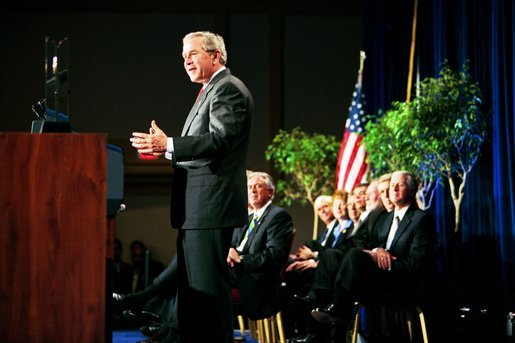 President George W. Bush speaks during the presentation of the 2003 Malcom Baldrige National Quality Award in Arlington, Va., Tuesday, March 9, 2003. The award in the highest honor for performance given by the President to U.S. organizations. White House photo by Paul Morse.