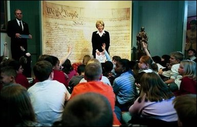 Mrs. Cheney takes questions during her talk with students at the Education Center at James Madison's Montpelier.