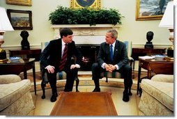 President George W. Bush meets with Prime Minister of the Netherlands Jan Peter Balkenende in the Oval office. Tuesday, March 16, 2004.  White House photo by Tina Hager