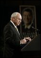 Vice President Dick Cheney delivers remarks during a visit to the Ronald Reagan Presidential Library and Museum in Simi Valley, Calif., Wednesday, March 17, 2004. The Vice President discussed President Reagan's legacy and America's War on Terror. White House photo by David Bohrer.