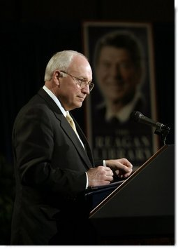 Vice President Dick Cheney delivers remarks during a visit to the Ronald Reagan Presidential Library and Museum in Simi Valley, Calif., Wednesday, March 17, 2004. The Vice President discussed President Reagan's legacy and America's War on Terror.  White House photo by David Bohrer