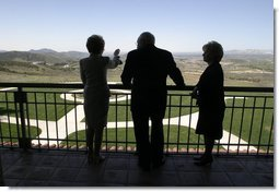 Looking over a replica of the White House South Lawn, former First Lady Nancy Reagan leads Vice President Dick Cheney and Mrs. Lynne Cheney on a tour of the Ronald Reagan Presidential Library and Museum in Simi Valley, Calif., Wednesday, March 17, 2004.  White House photo by David Bohrer