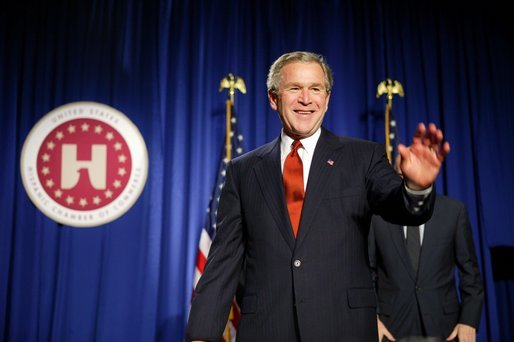President George W. Bush speaks at the United States Hispanic Chamber of Commerce in Washington, D.C., Wednesday, March 24, 2004. The President discussed his policies to strengthen the economy and help small businesses create jobs. White House photo by Paul Morse