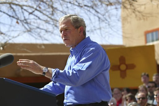 President George W. Bush delivers remarks about homeownership at Expo New Mexico in Albuquerque, N.M., Friday, March 26, 2004. White House photo by Eric Draper
