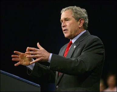 President George W. Bush delivers remarks on the economy at Fox Cities Performing Arts Center in Appleton, Wis., Tuesday, March 30, 2004. White House photo by Eric Draper. White House photo by Eric Draper