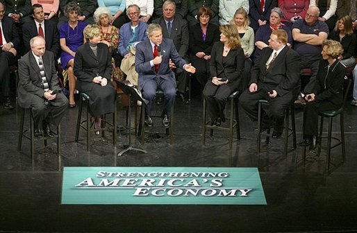 President George W. Bush leads a discussion on strengthening the economy and job training at Marshall Community & Technical College in Huntington, W.Va., Friday, April 2, 2004. Seated with President Bush are, from left: Huntington Career One Stop representative Rocky McCoy, MCTC CEO and Provost Dr. Vicki Riley, MCTC student Rina Angus, MCTC graduate Bryan Johnson, and small business owner Sally Oxley. White House photo by Eric Draper