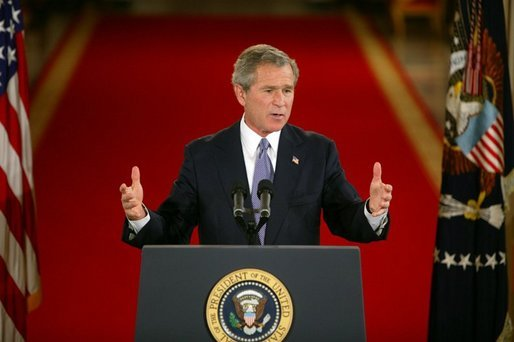 President George W. Bush responds to questions during a prime time press conference in the East Room of the White House on April 13, 2004. White House photo by Paul Morse
