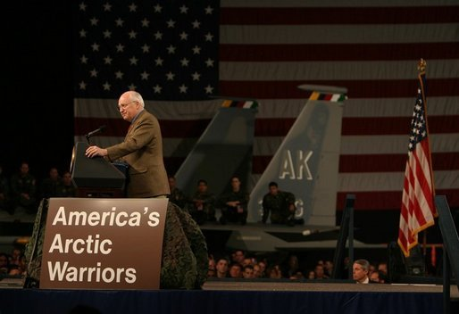 Vice President Dick Cheney speaks to a crowd of nearly 2,000 troops and their families at Elmendorf Air Force Base in Anchorage, Alaska during a rally Friday afternoon, March 9, 2004. This was the first stop on the vice president's trip that will stop in Japan, China, and South Korea over the next week. White House photo by David Bohrer