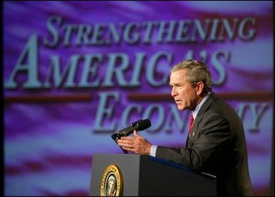 President George W. Bush delivers remarks on the economy in Des Moines, Iowa, Thursday, April 15, 2004. None