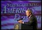 President George W. Bush delivers remarks on the economy in Des Moines, Iowa, Thursday, April 15, 2004.