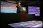 President George W. Bush gives remarks on the economy in Des Moines, Iowa, Thursday, April 15, 2004. White House photo by Paul Morse