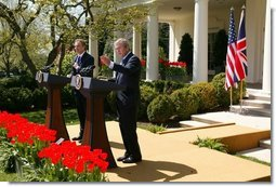 President George W. Bush and Prime Minister Tony Blair hold a press conference in the Rose Garden of the White House on April 16, 2004.  White House photo by Paul Morse
