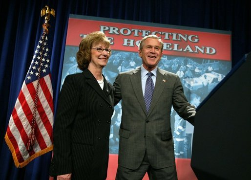President George W. Bush is introduced by Donna Mindeck, First Vice President of the Pennsylvania State Association of Town Supervisors, before giving remarks on the USA Patriot Act in Hershey, Pa., Monday, April 19, 2004. White House photo by Paul Morse.