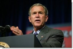 President George W. Bush delivers remarks about the USA Patriot Act in Hershey, Pa., Monday, April 19, 2004.  White House photo by Paul Morse