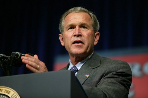 President George W. Bush delivers remarks about the USA Patriot Act in Hershey, Pa., Monday, April 19, 2004. White House photo by Paul Morse.
